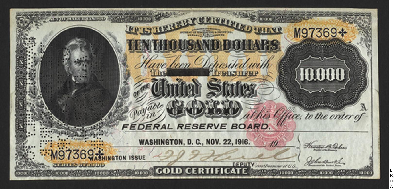 Large Size Gold Certificates 10000 Dollars