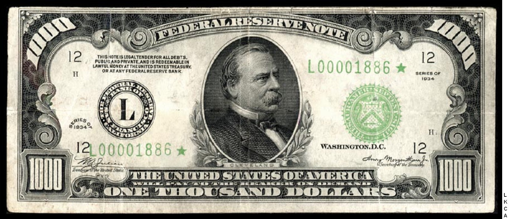Small Size Federal Reserve Notes 1000 Dollars