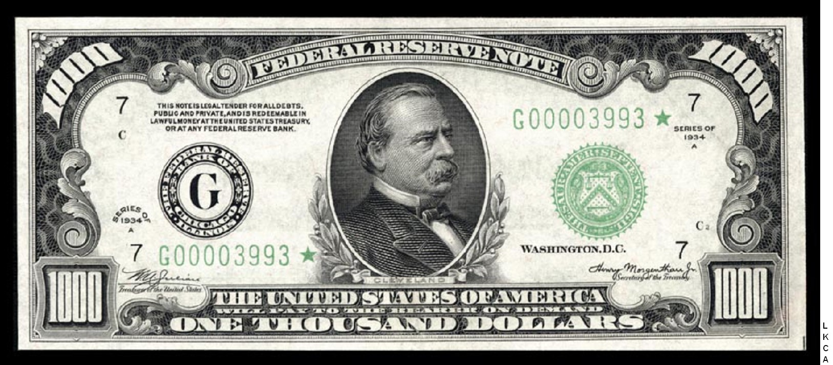 Small Size Federal Reserve Notes - 1000 dollars