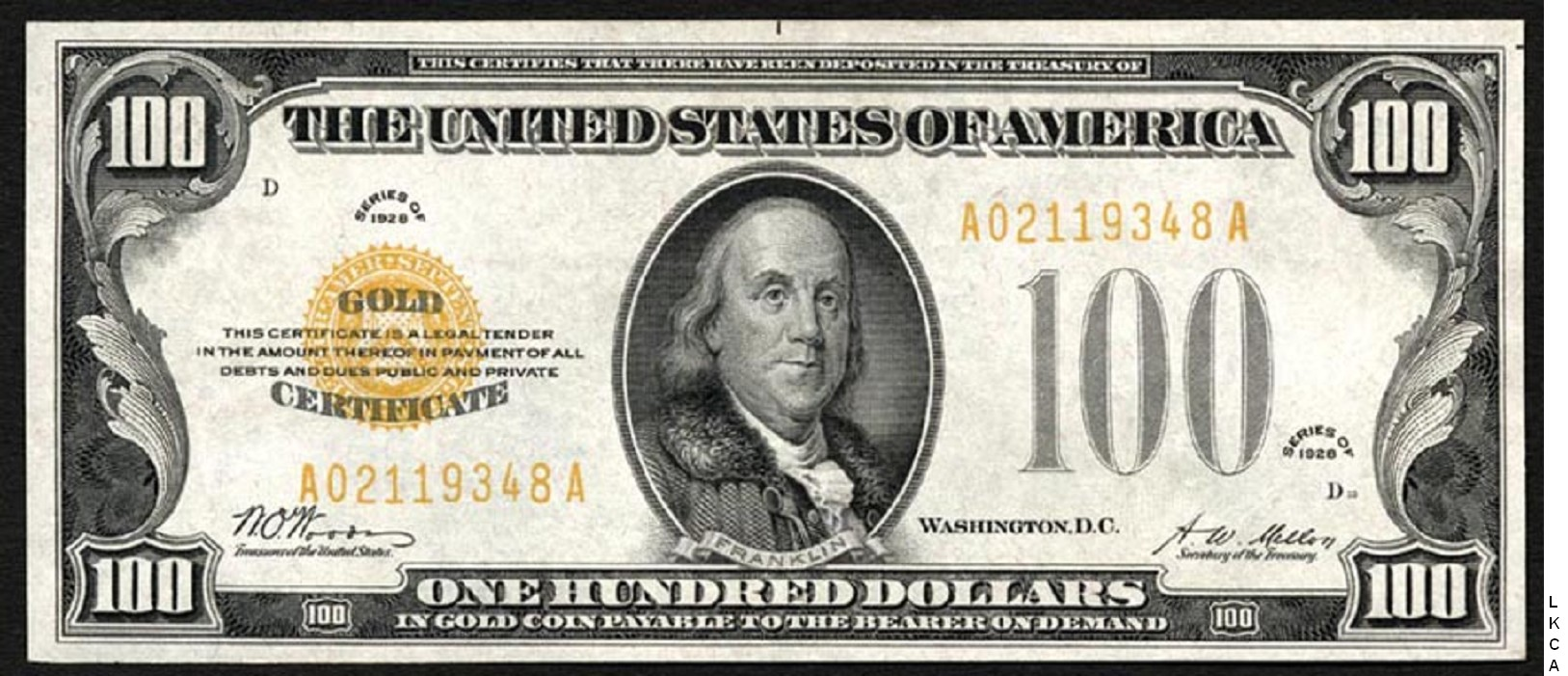 Small Size Gold Certificates 100 Dollars